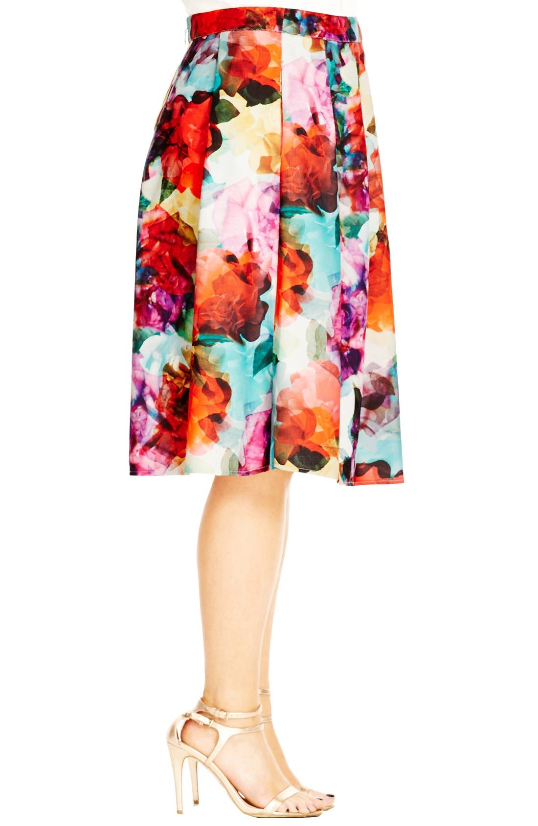Alternate Image 3  - City Chic 'Bright Pop' Floral Print Pleat Skirt (Plus Size)