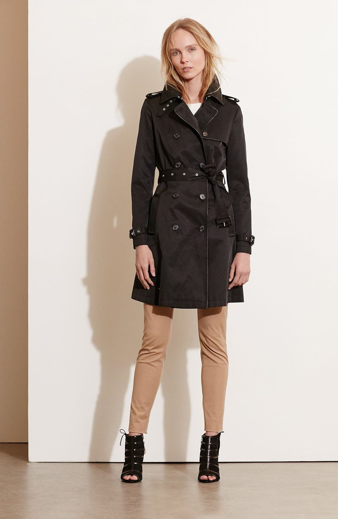Alternate Image 1 Selected - Lauren Ralph Lauren Faux Leather Trim Trench Coat (Regular & Petite)