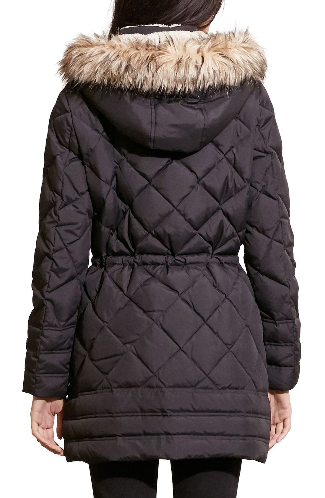 Alternate Image 2  - Lauren Ralph Lauren Quilted Jacket with Faux Fur Trim