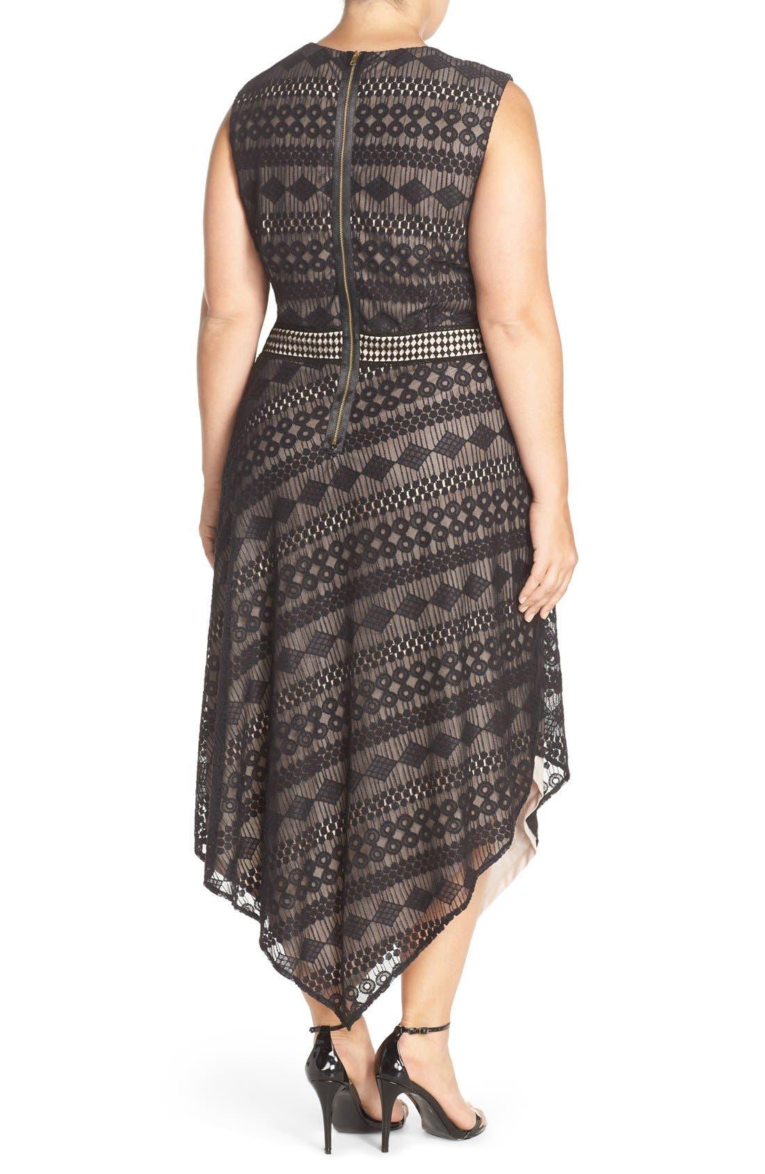 Alternate Image 2  - London Times Geo Stripe Lace Asymmetrical Hem Dress (Plus Size)