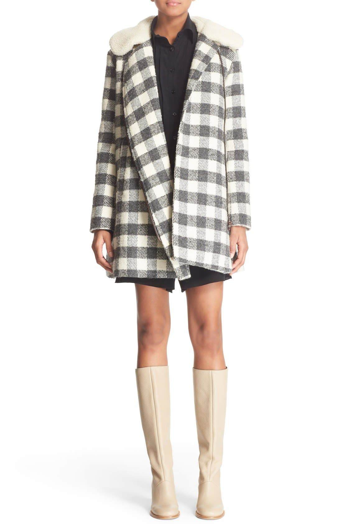Alternate Image 2  - See by Chloé Faux Shearling Trim Buffalo Plaid Coat