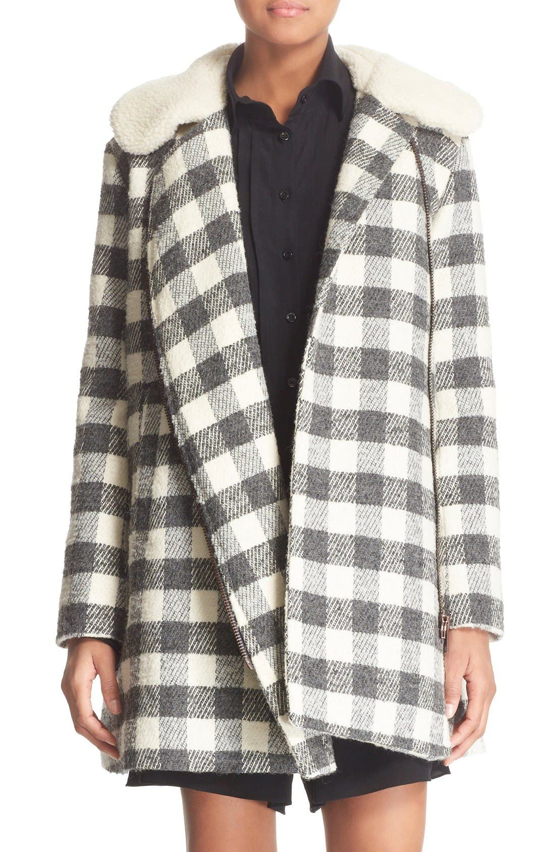 Main Image - See by Chloé Faux Shearling Trim Buffalo Plaid Coat