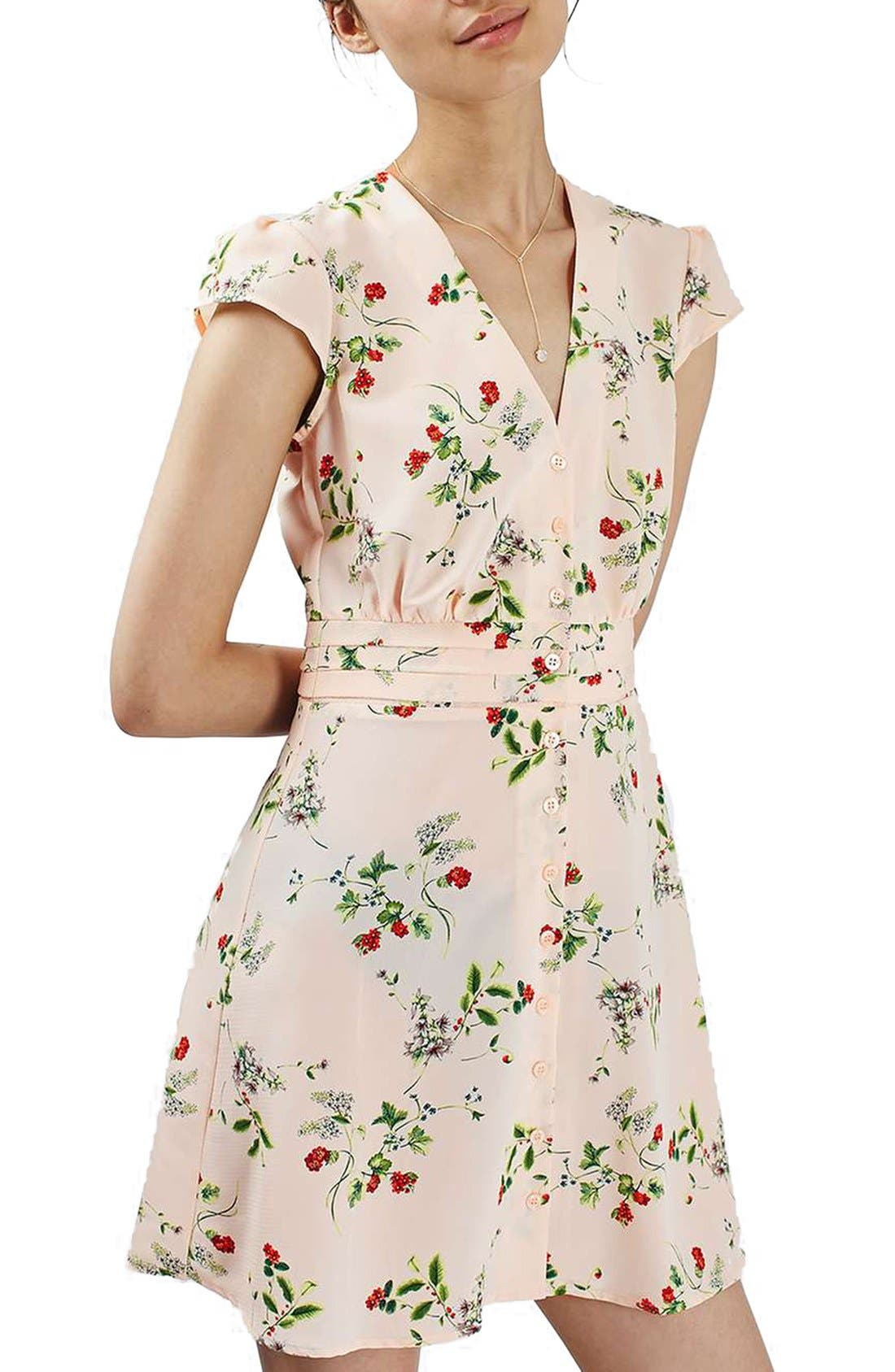 Alternate Image 1 Selected - Topshop Floral Print Cap Sleeve Minidress
