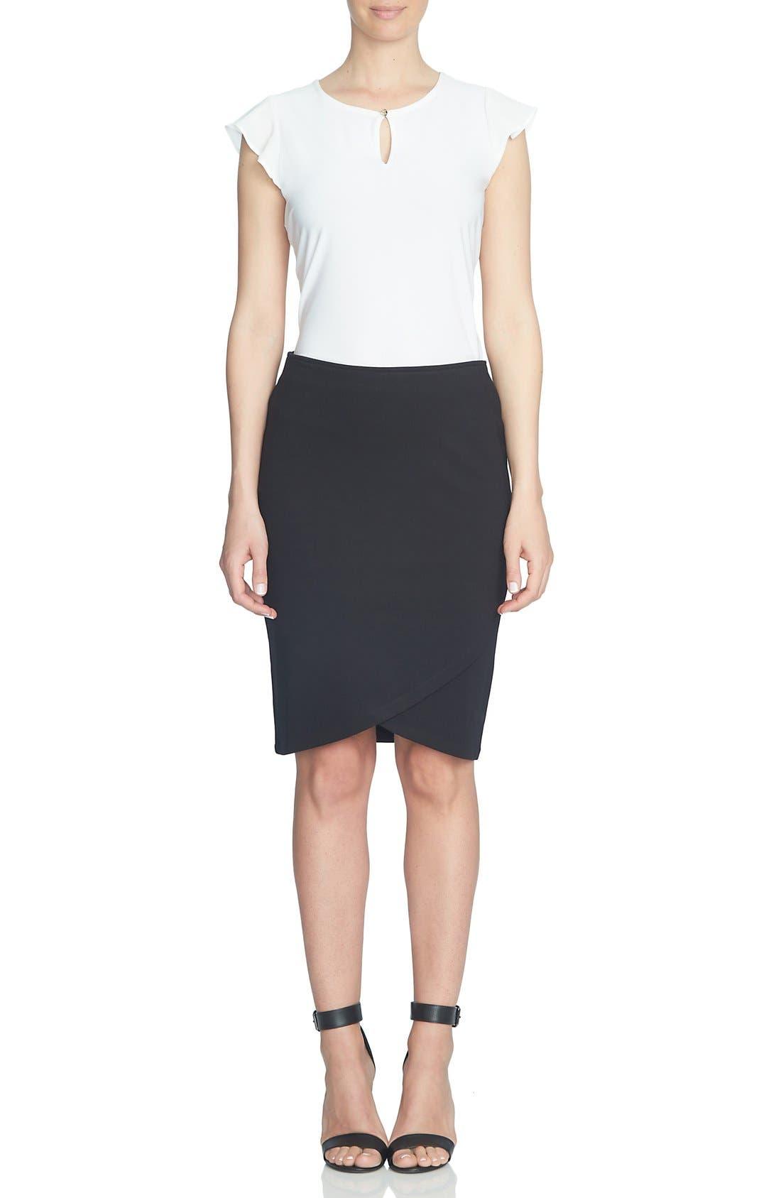 Alternate Image 2  - CeCe Ponte Faux Wrap Pencil Skirt
