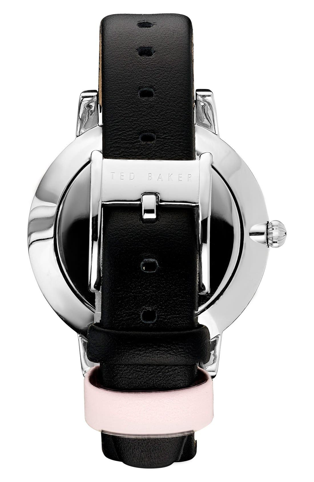 Alternate Image 2  - Ted Baker Round Dial Leather Strap Watch, 40mm