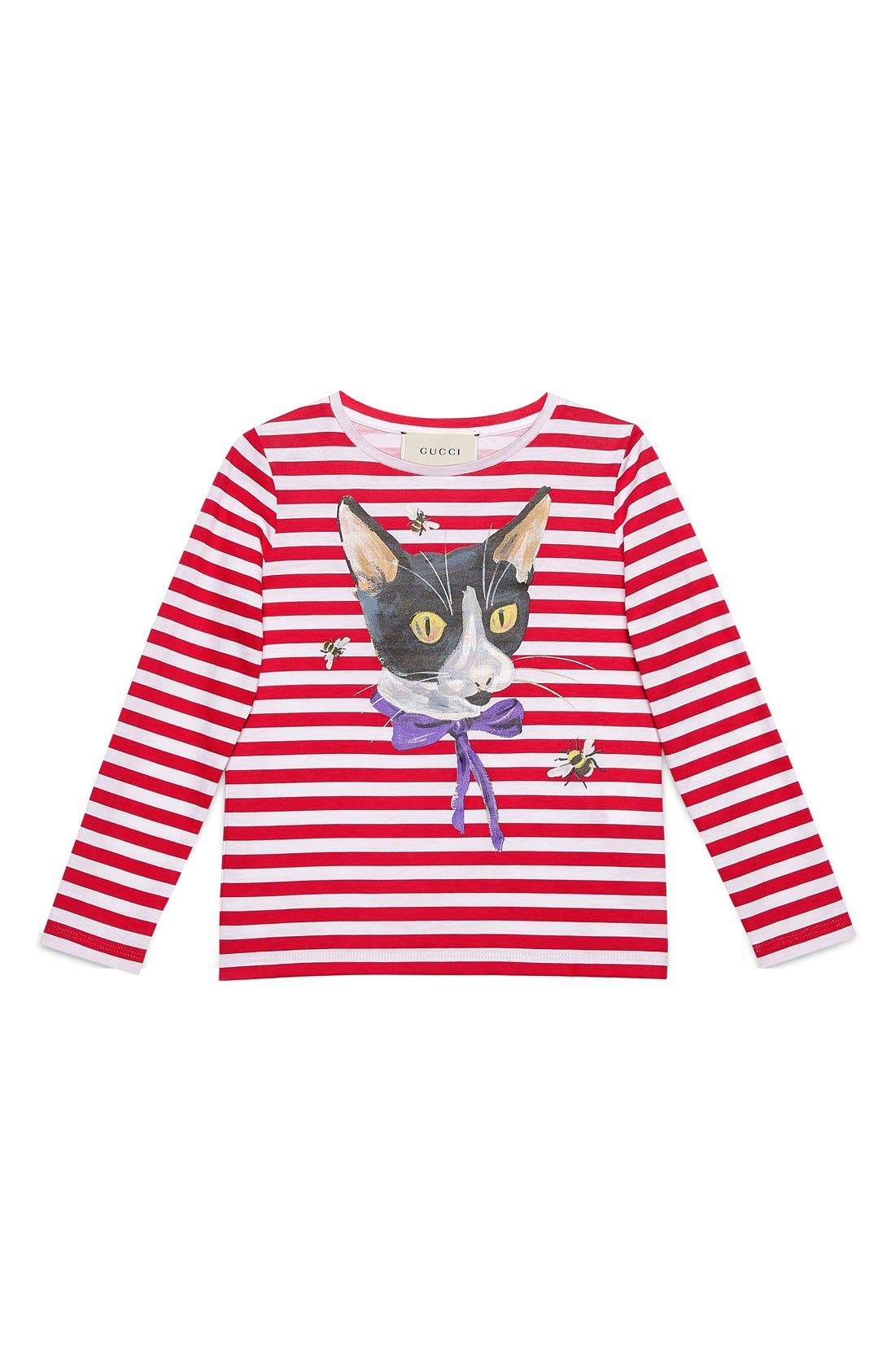 GUCCI 'Cat & Bees' Stripe Long Sleeve Tee