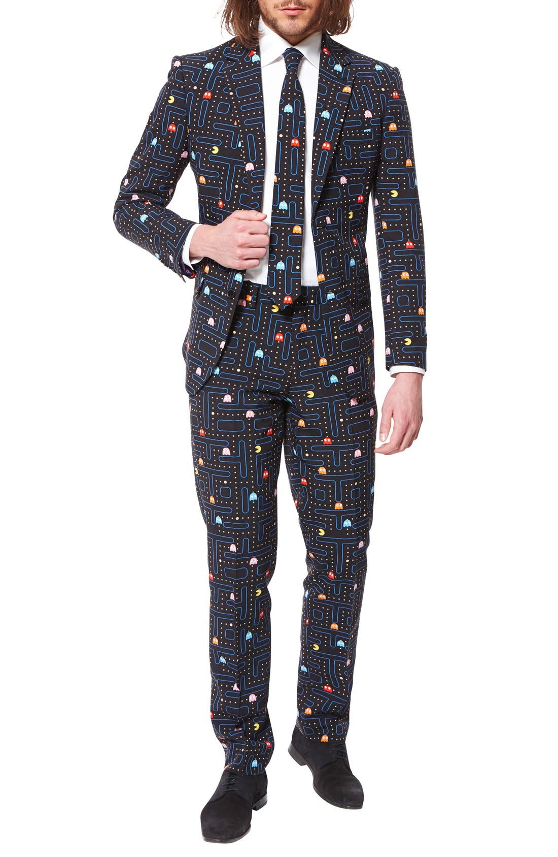OppoSuits 'Pac-Man™' Trim Fit Two-Piece Suit with Tie