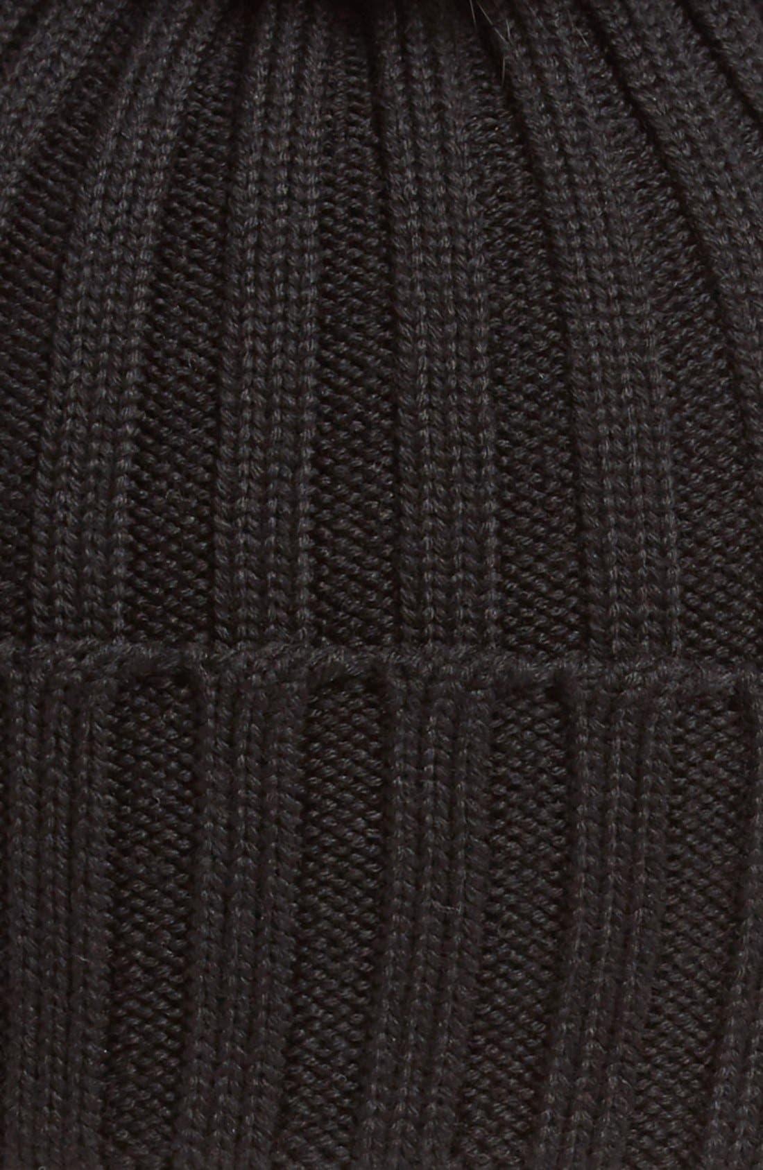 Alternate Image 2  - Moncler Genuine Fox Fur Pom Ribbed Wool Beanie