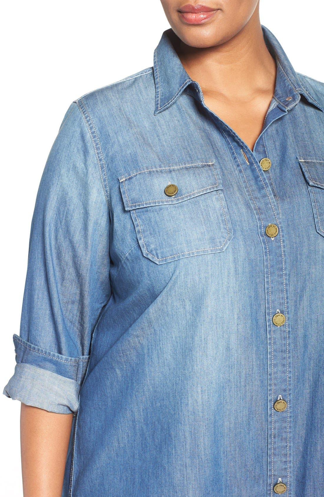 Alternate Image 5  - Two by Vince Camuto Denim Shirtdress (Plus Size)