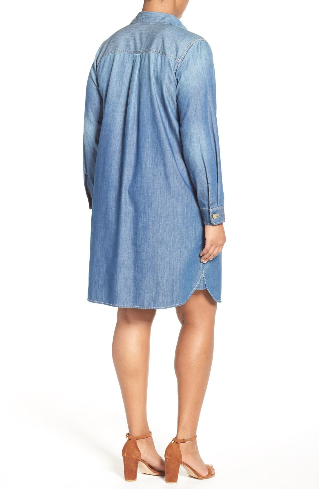 Alternate Image 2  - Two by Vince Camuto Denim Shirtdress (Plus Size)
