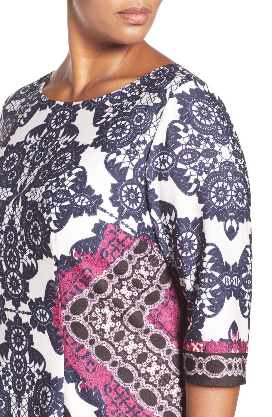 Alternate Image 6  - Eliza J Geo Print Ponte Sheath Dress (Plus Size)
