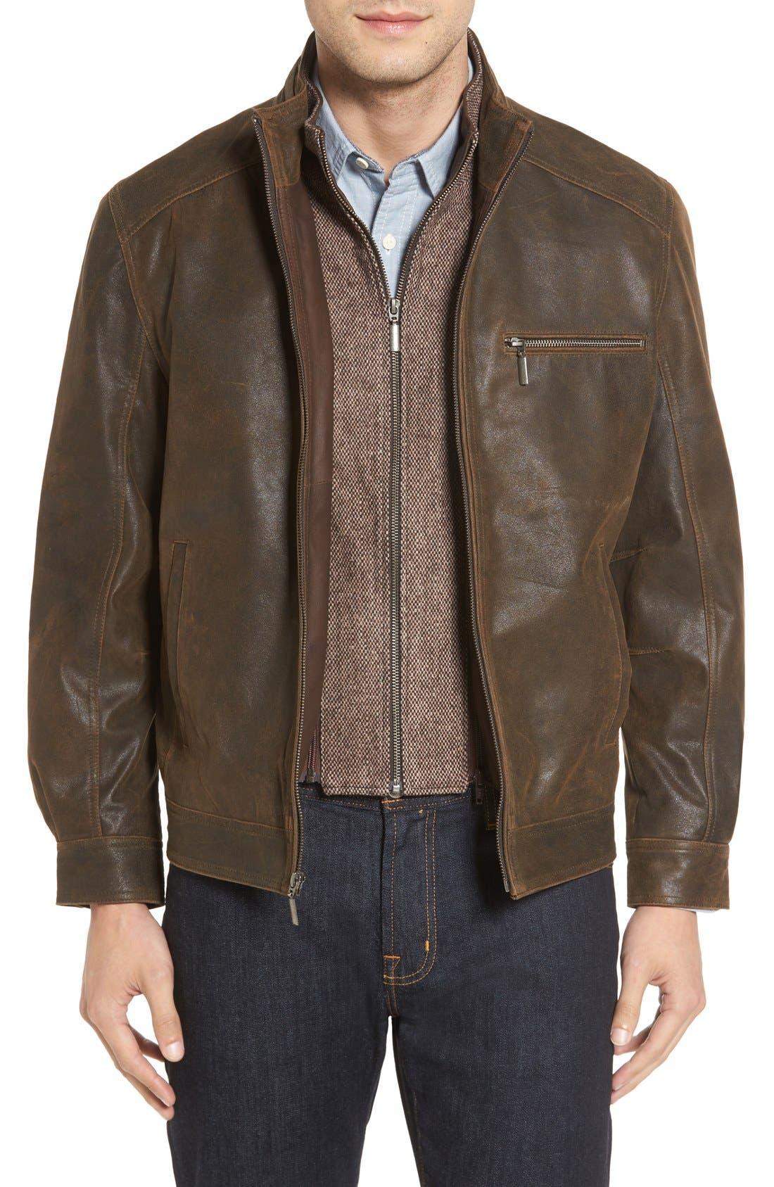 Missani Le Collezioni Vintage Lambskin Suede Jacket with Detachable Bib