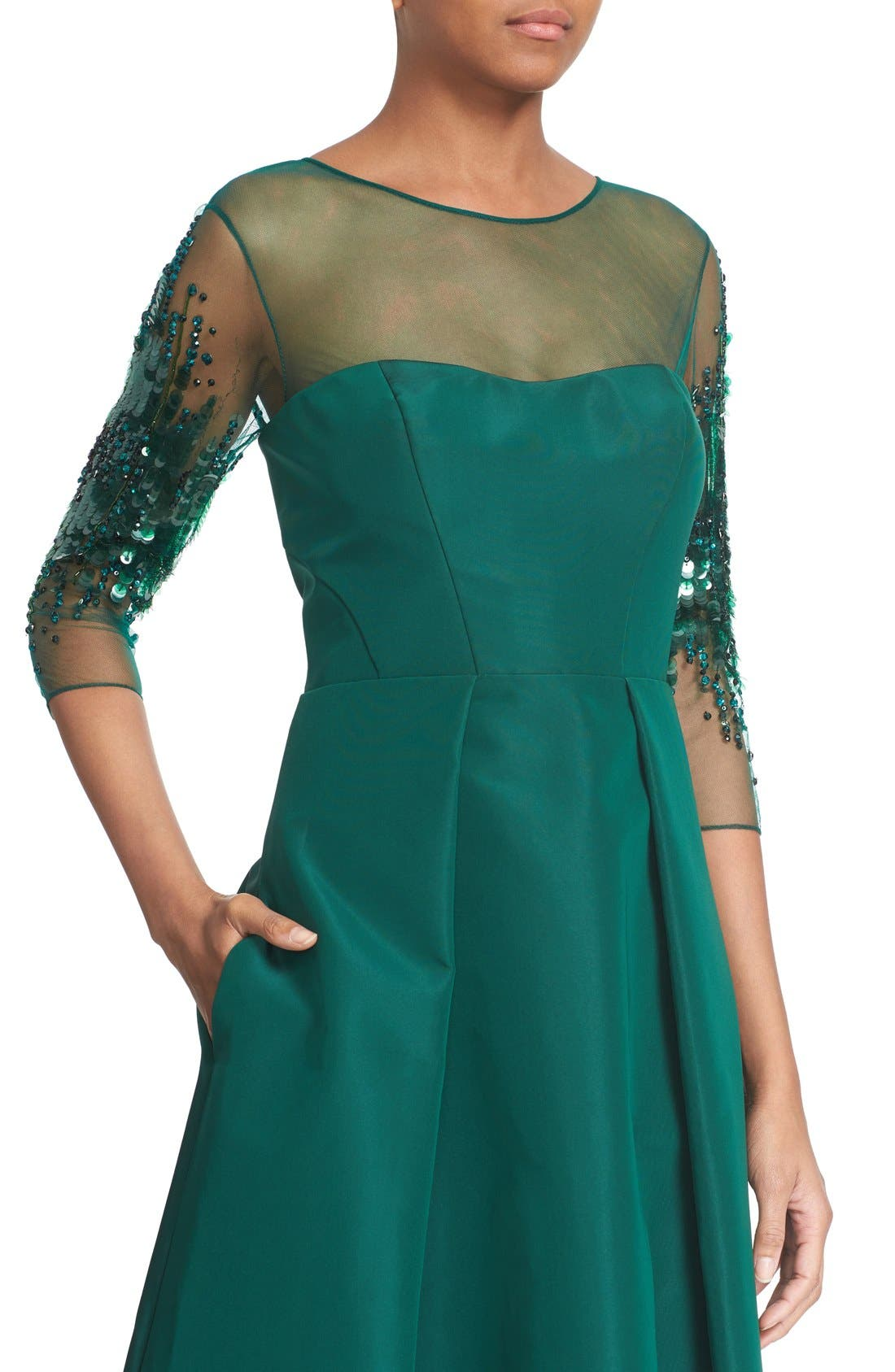 Alternate Image 4  - Pamella Roland Crystal Sequin Silk Faille Gown