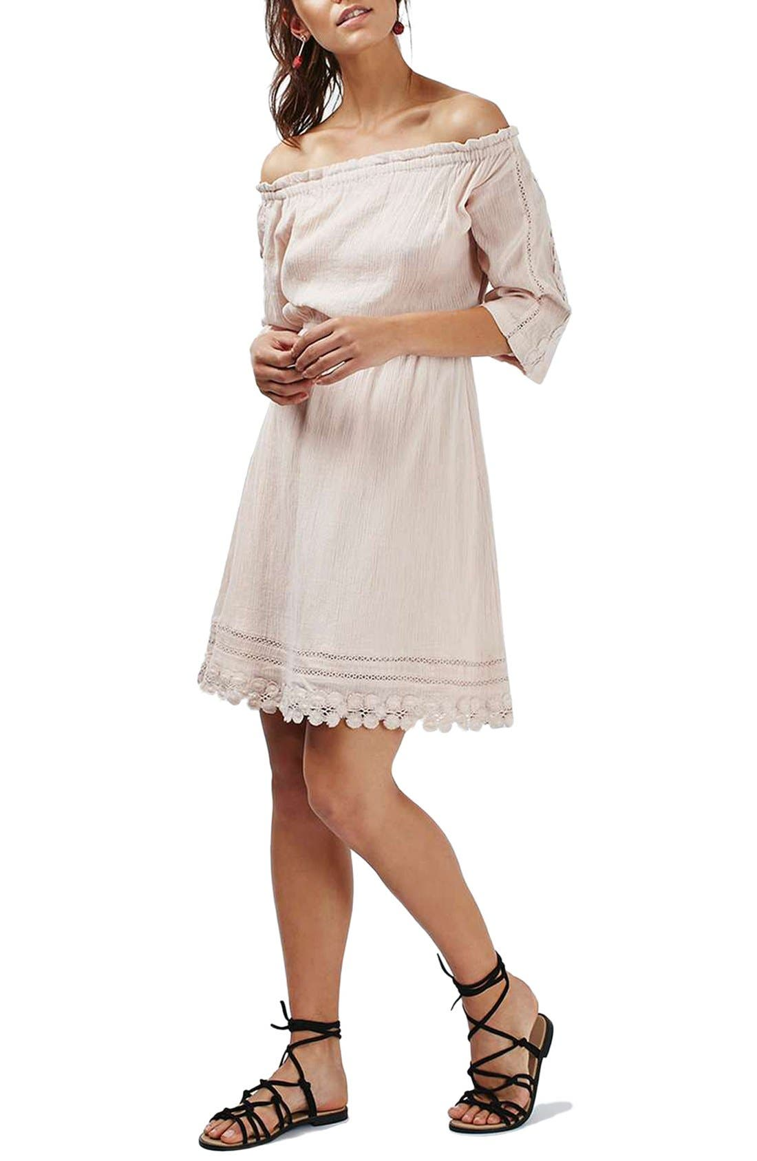 Alternate Image 1 Selected - Topshop Crochet Daisy Trim Off the Shoulder Dress