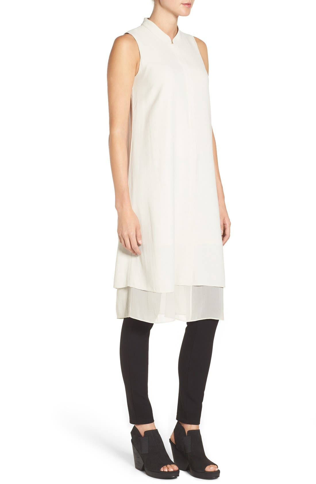 Alternate Image 3  - Eileen Fisher Chiffon Hem Sleeveless Mandarin Collar Silk Georgette Shirtdress