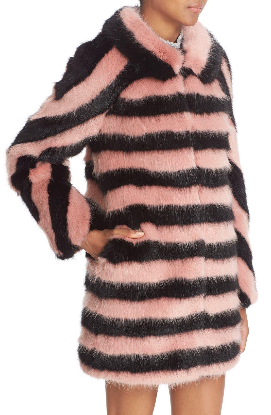 Alternate Image 6  - Shrimps 'Jean' Stripe Faux Fur Coat