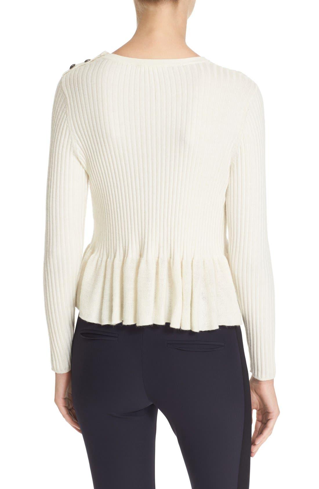 Alternate Image 2  - Rebecca Taylor Rib Knit Peplum Pullover