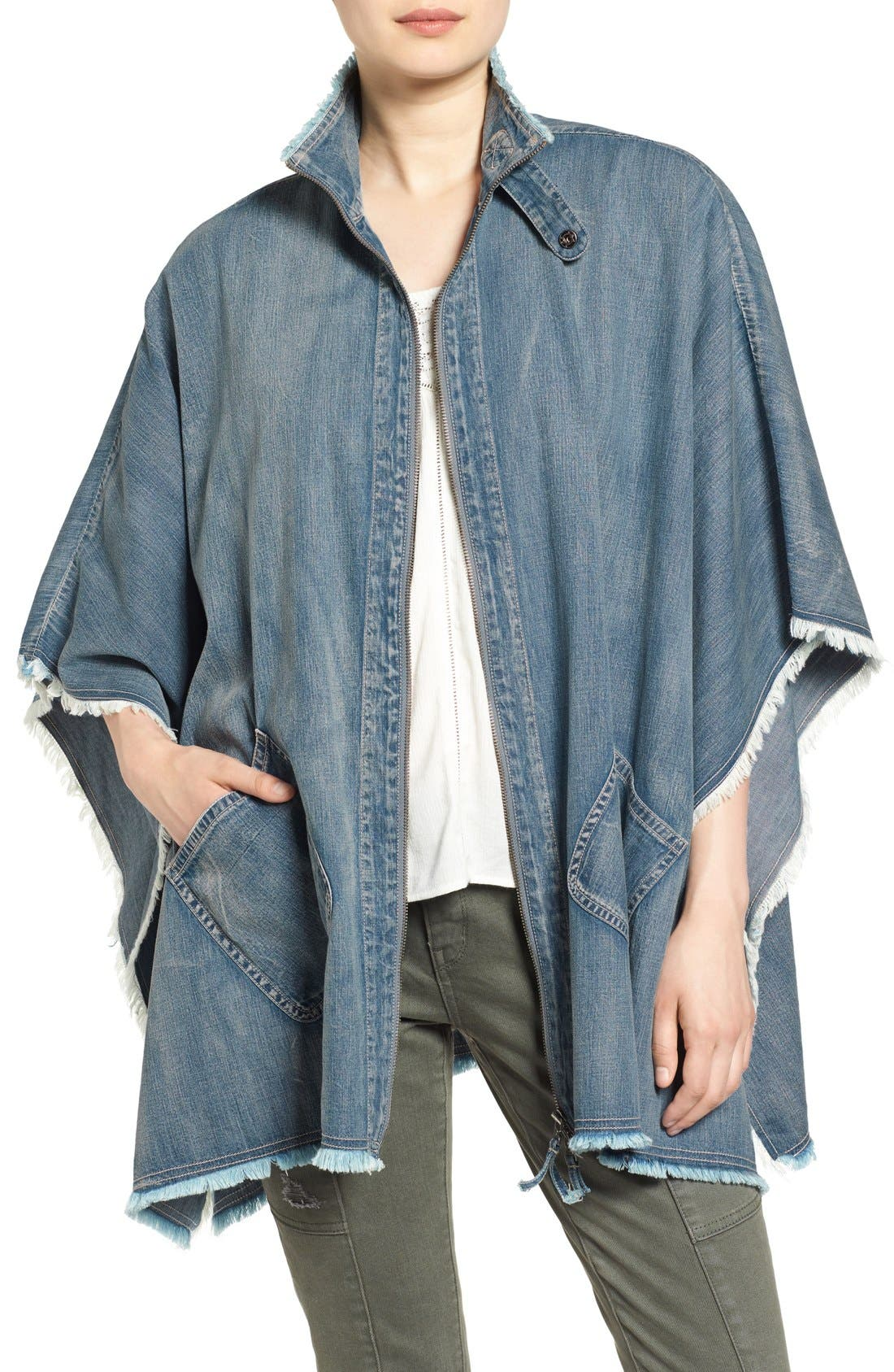 Treasure&Bond Zip Front Denim Poncho