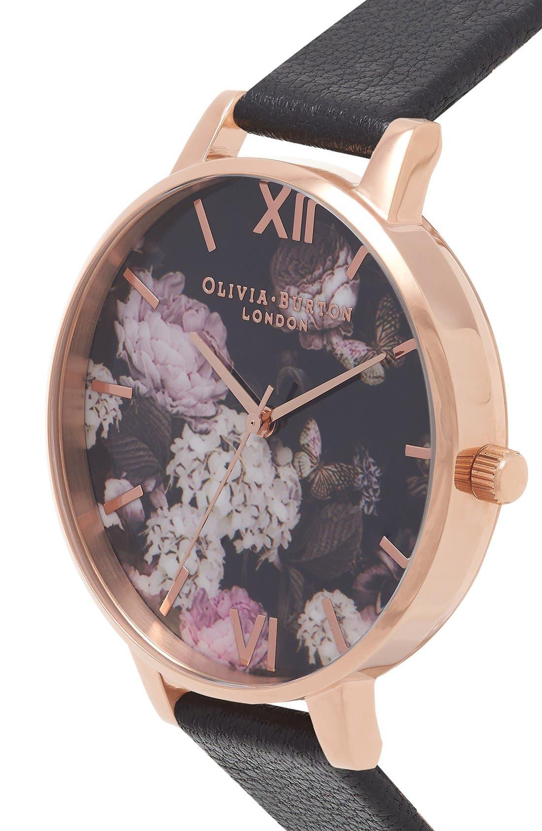 Alternate Image 3  - Olivia Burton 'Winter Garden' Leather Strap Watch, 38mm