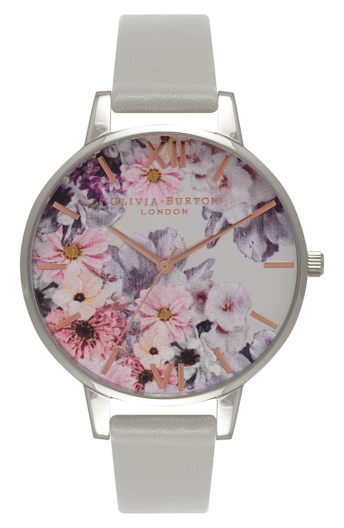 Alternate Image 1 Selected - Olivia Burton Enchanted Garden Leather Strap Watch, 38mm