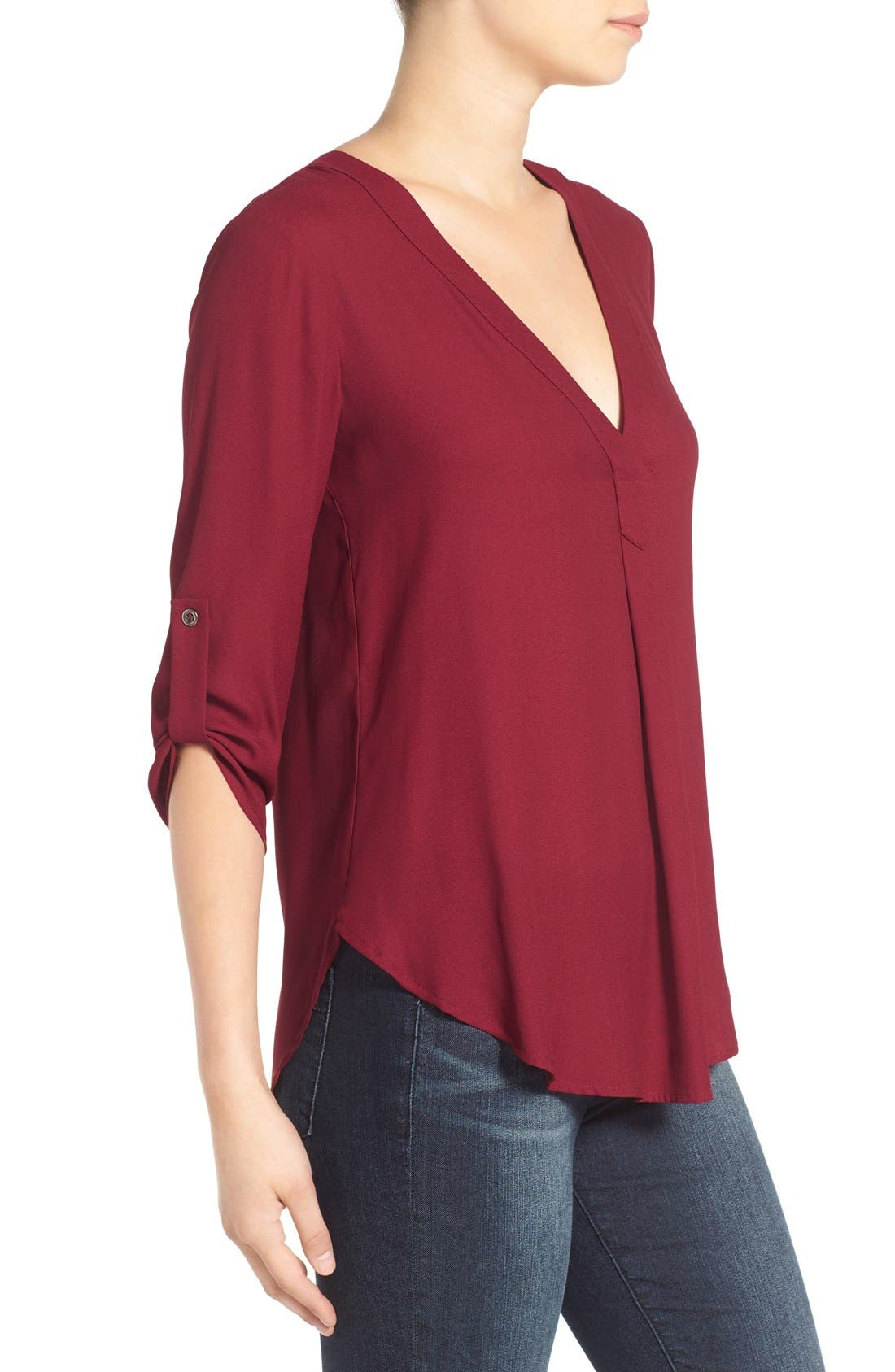Alternate Image 3  - Lush V-Neck Crepe Blouse