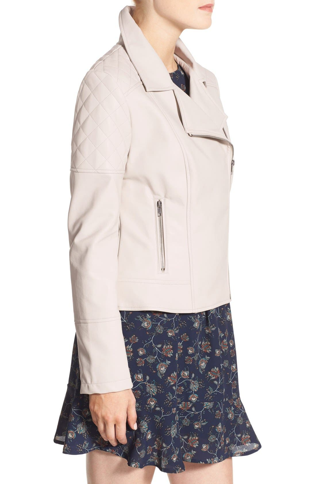 Alternate Image 4  - cupcakes and cashmere 'Breck' Faux Leather Moto Jacket