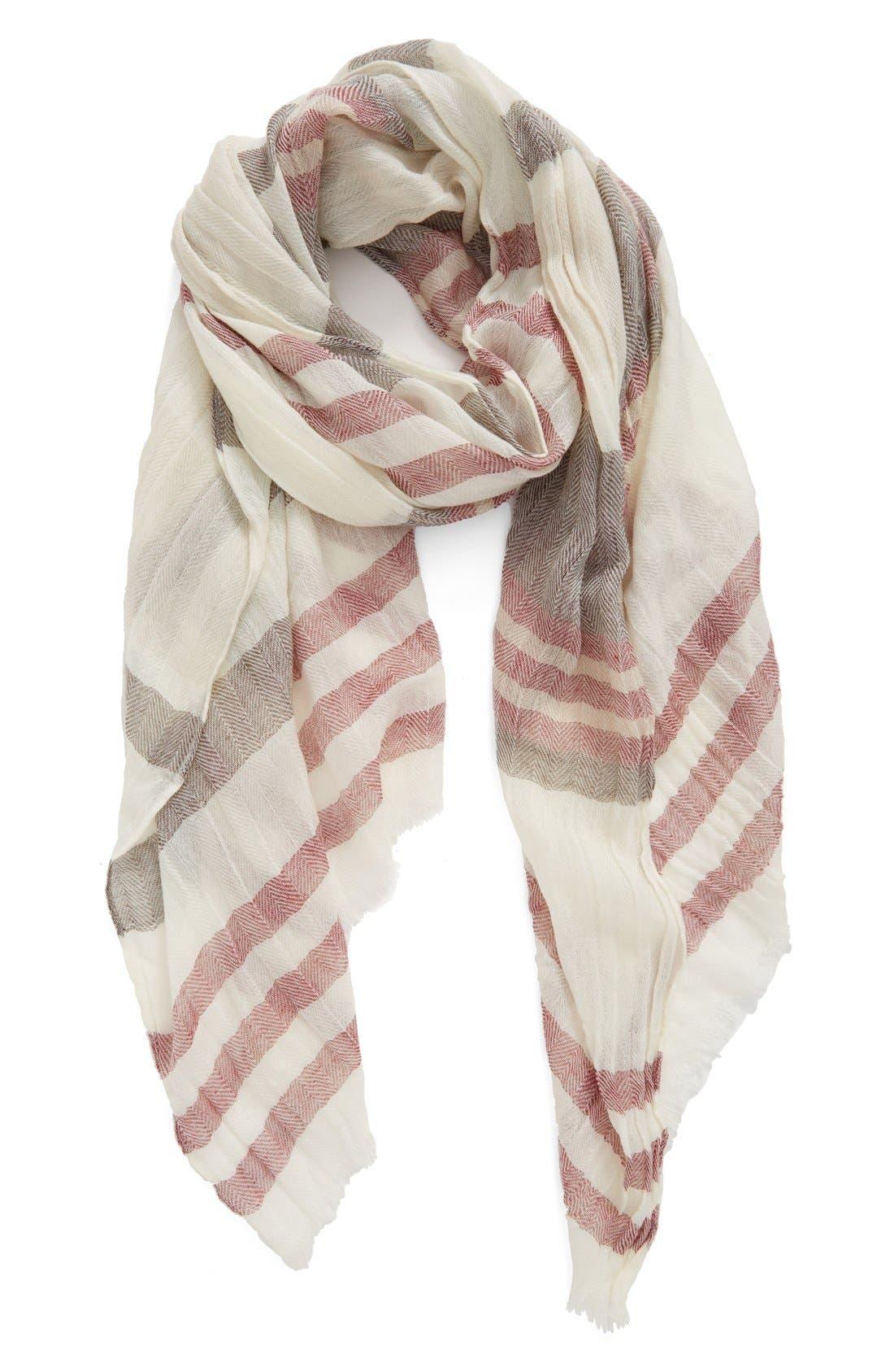Alternate Image 1 Selected - Caslon® Stripe Wool Wrap Scarf