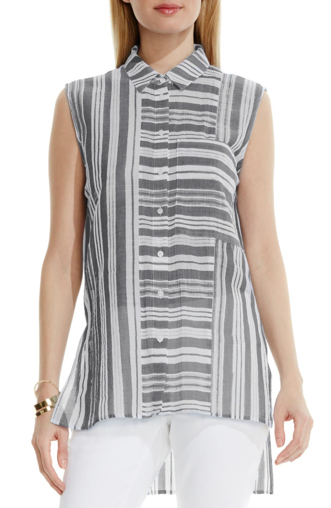 Alternate Image 1 Selected - Two by Vince Camuto Sheer Stripe Sleeveless Blouse