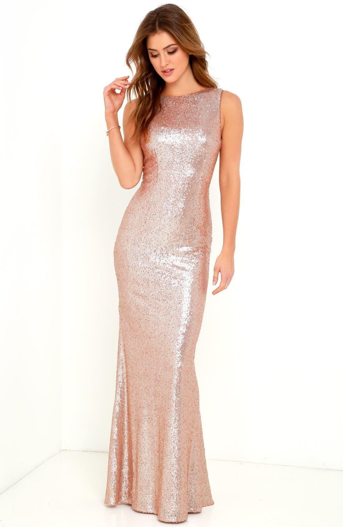 Alternate Image 2  - Lulus Sleeveless Sequin Drape Back Gown