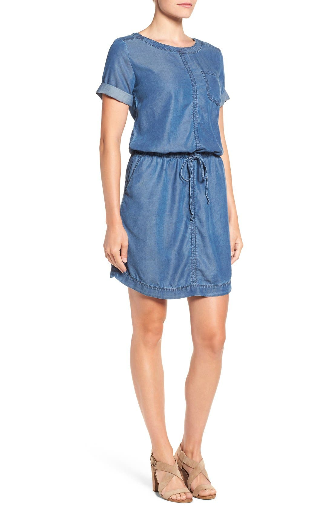 Alternate Image 3  - Caslon® Chambray Drawstring Waist Dress