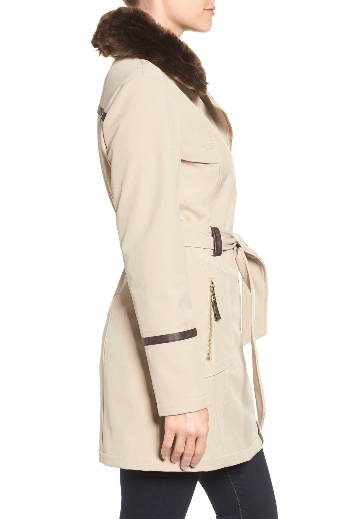 Alternate Image 3  - Via Spiga Detachable Faux Fur Collar Belted Soft Shell Coat