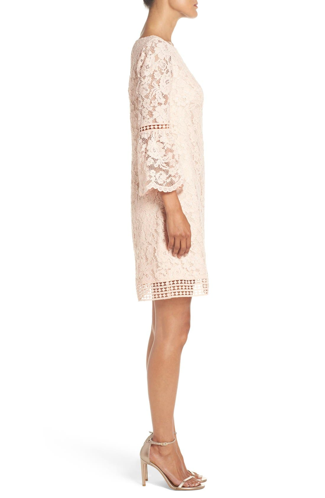 Alternate Image 3  - Eliza J Bell Sleeve Lace Shift Dress (Regular & Petite)