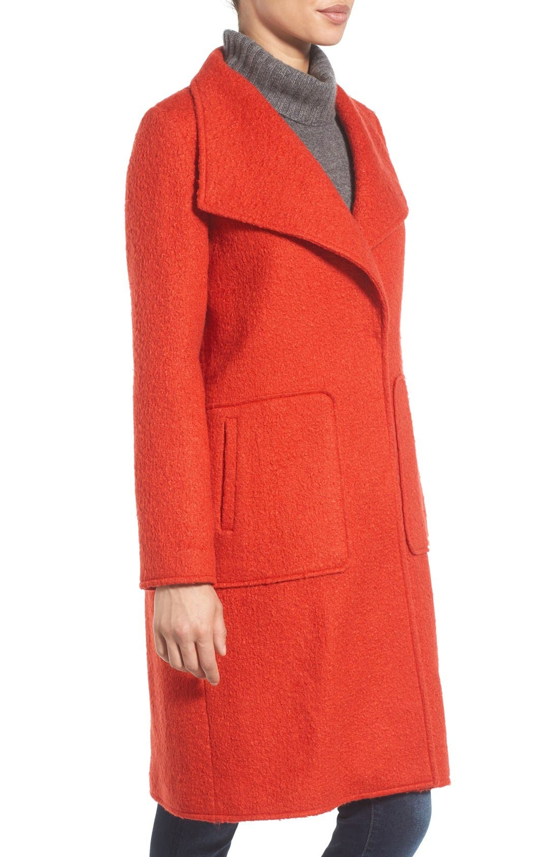 Alternate Image 3  - Bernardo Textured Long Coat (Regular & Petite)
