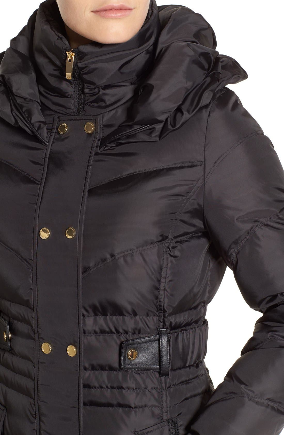 Alternate Image 4  - Via Spiga Snap Detail Pillow Collar Puffer Coat