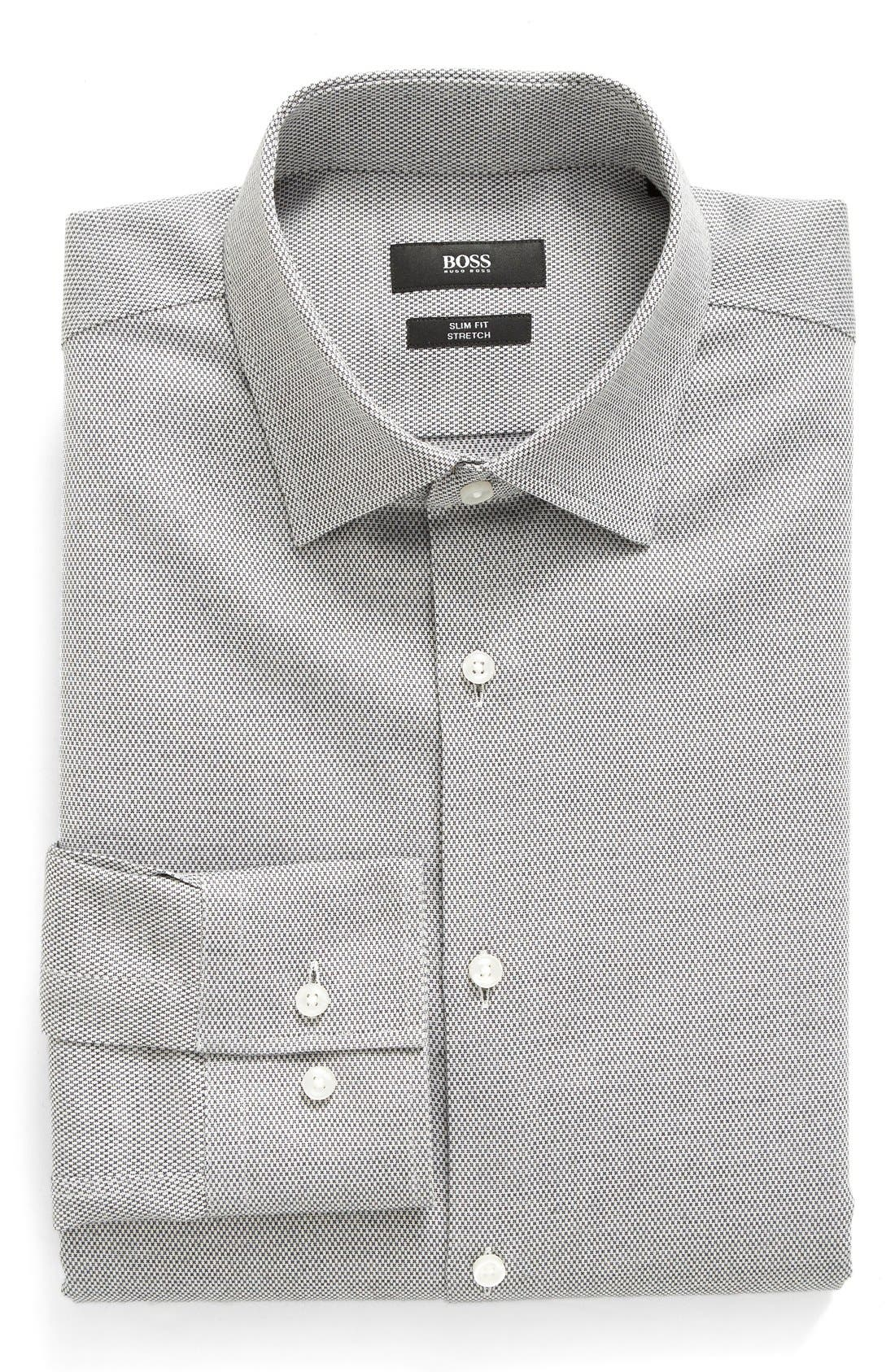 BOSS Slim Fit Solid Stretch Dress Shirt