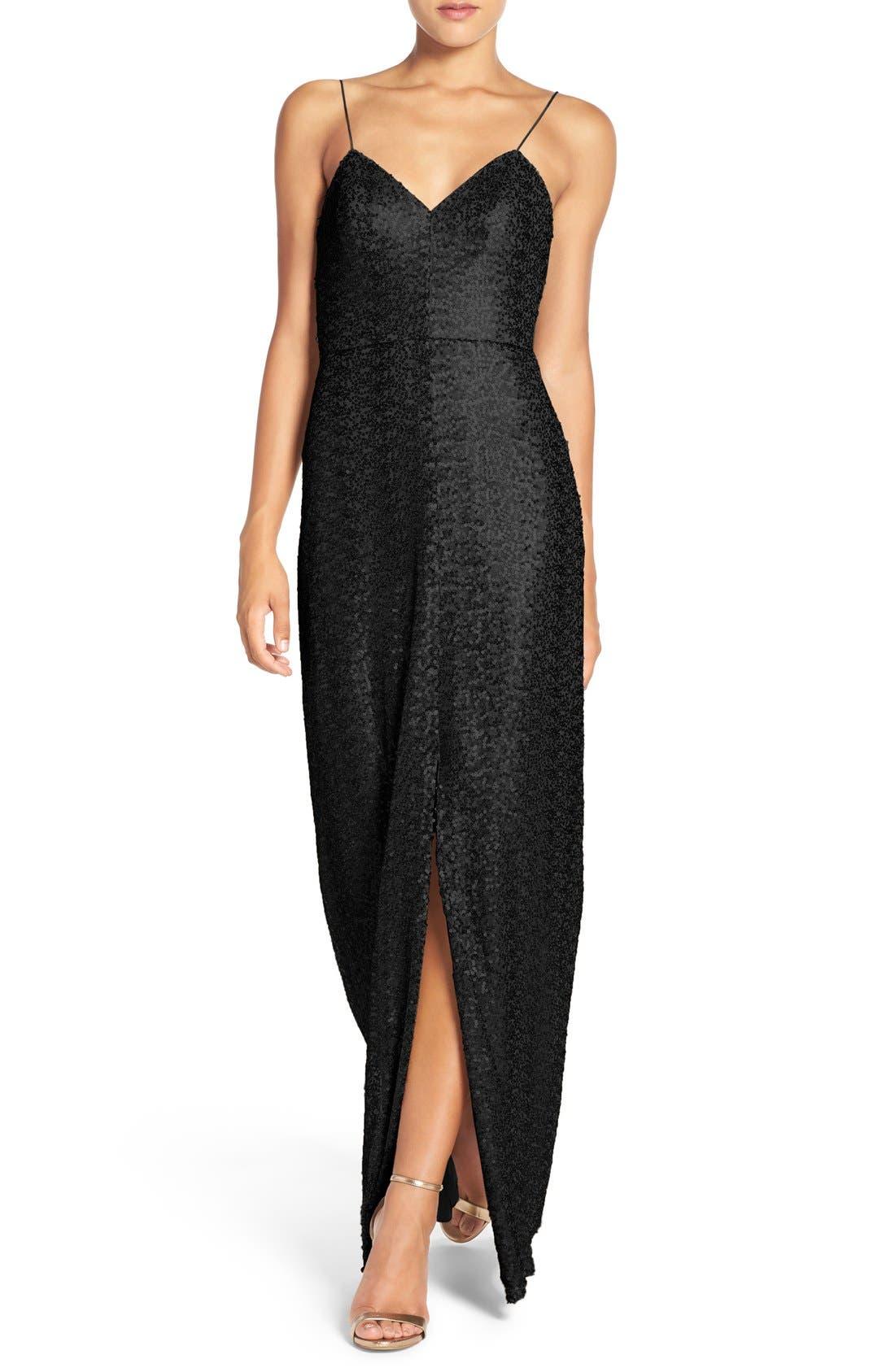 Amsale 'Samantha' Spaghetti Strap V-Neck Sequin Gown