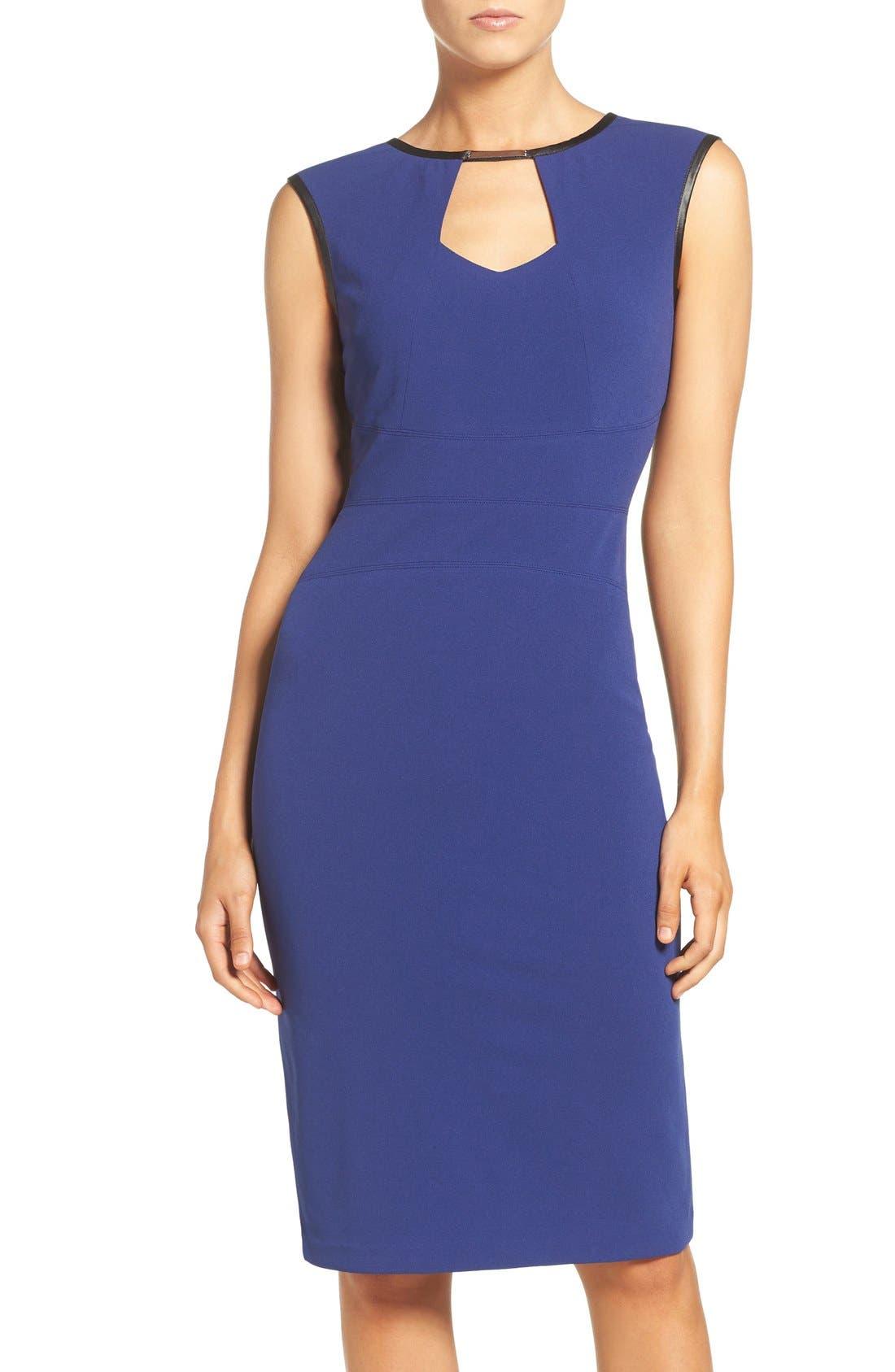 ECI Keyhole Neck Sheath Dress