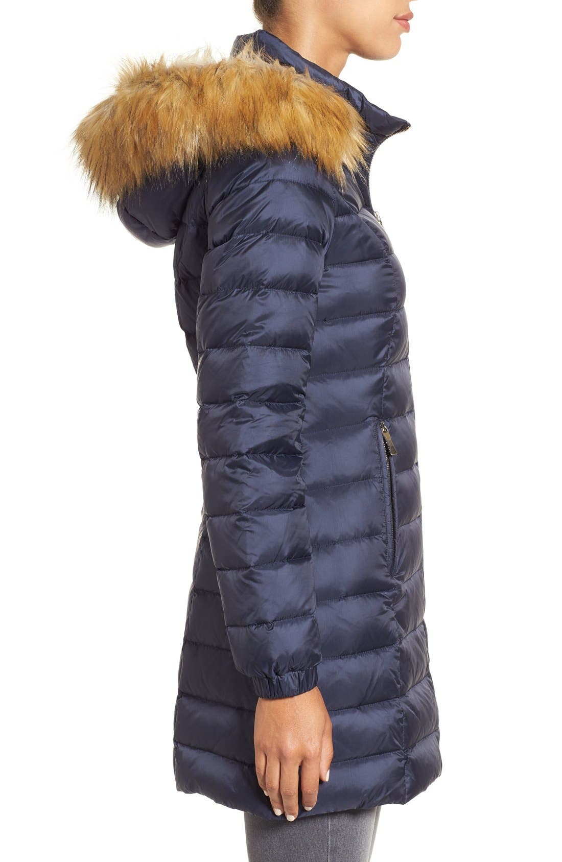 Alternate Image 3  - kate spade new york bow back down coat with faux fur trim