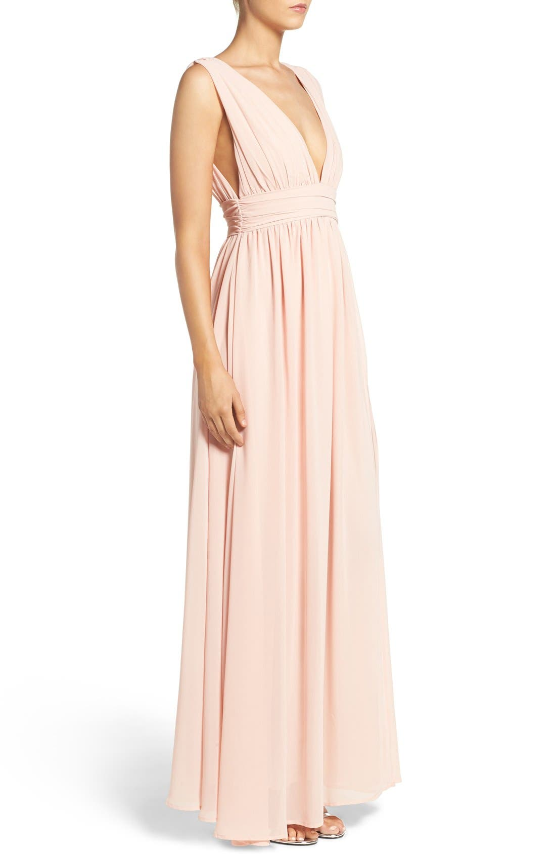 Alternate Image 4  - Lulus Plunging V-Neck Chiffon Gown