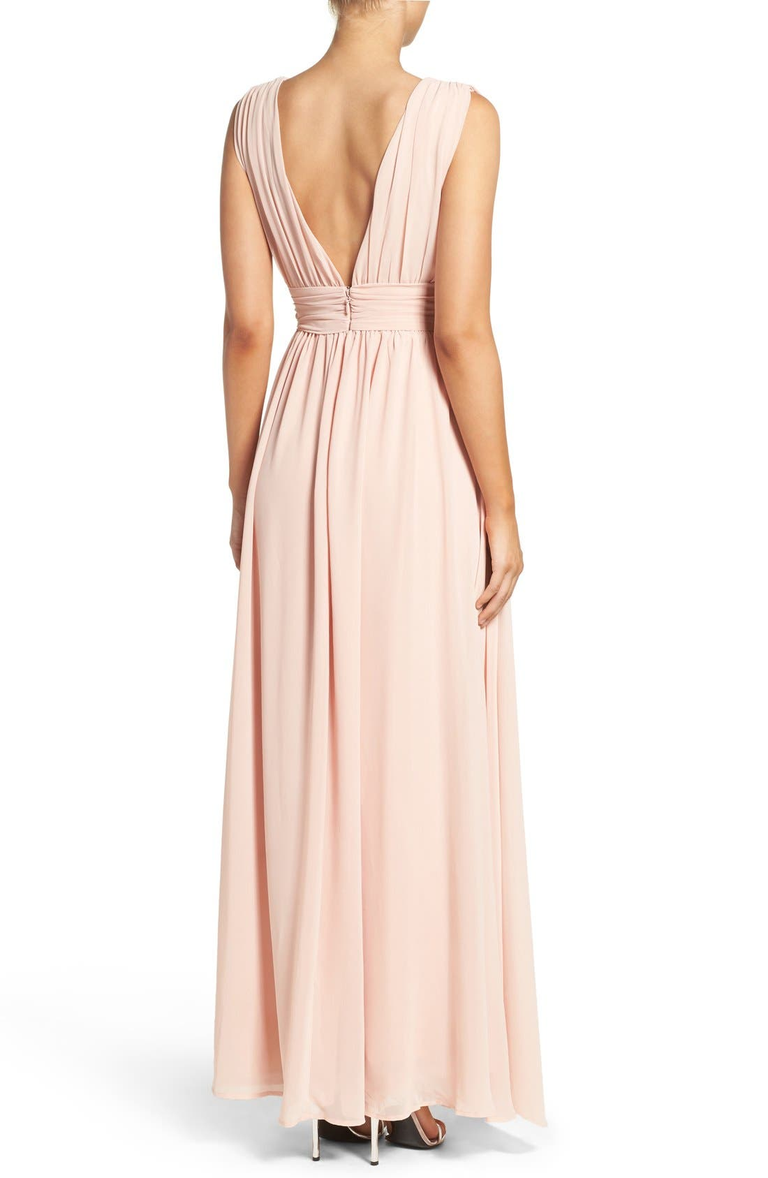 Alternate Image 3  - Lulus Plunging V-Neck Chiffon Gown