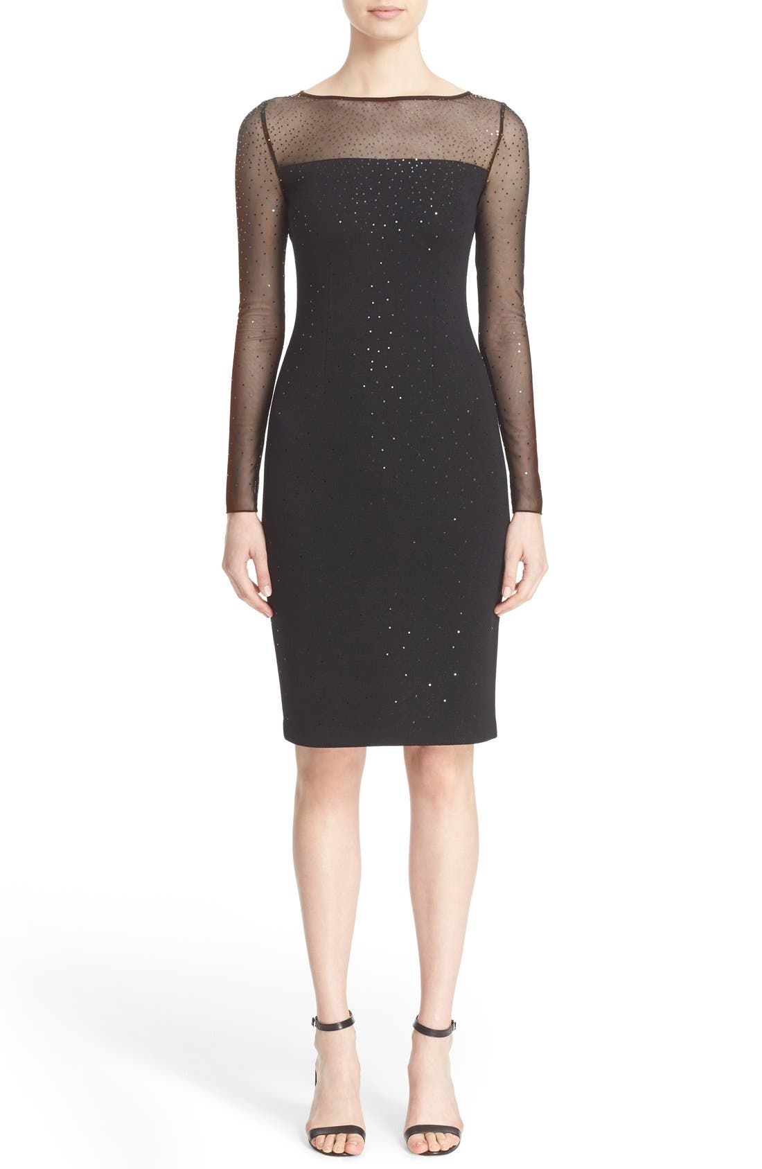 St. John Collection Sequin Embellished Shimmer Milano Knit Dress