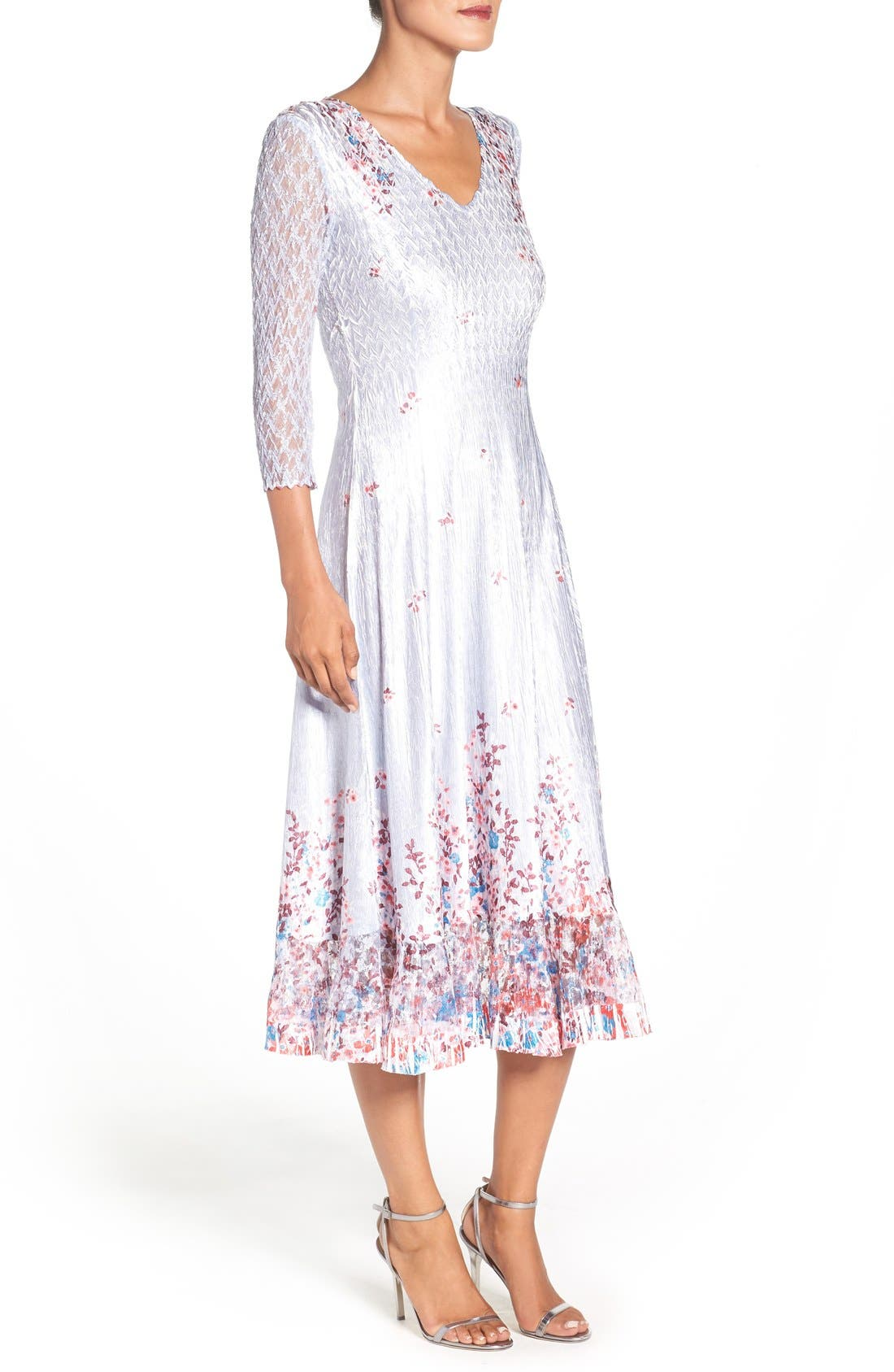 Alternate Image 3  - Komarov Floral Charmeuse & Lace A-Line Dress (Regular & Petite)