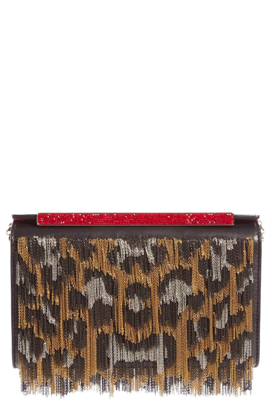 Main Image - Christian Louboutin Vanité Metallic Leopard Leather Clutch
