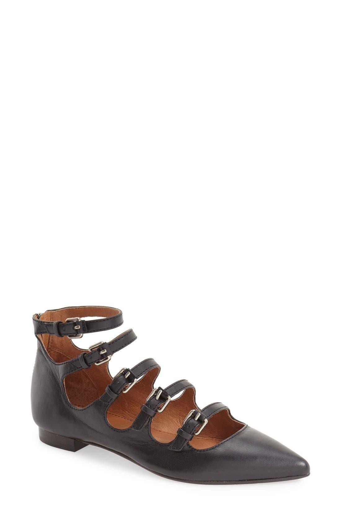 Frye 'Sienna' Pointy Toe Buckle Strap Flat (Women)