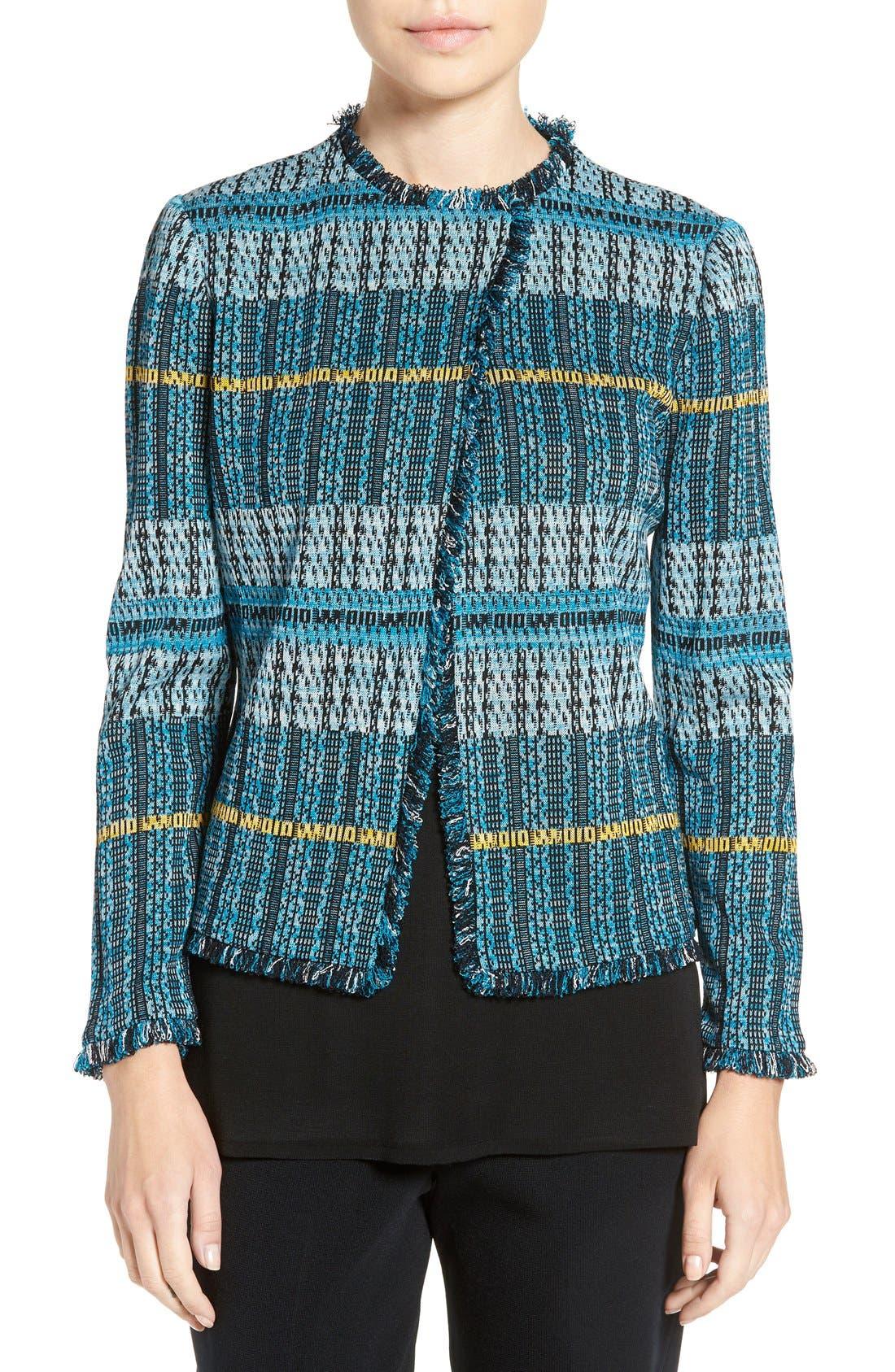 MING WANG Fringe Trim Jacquard Knit Jacket