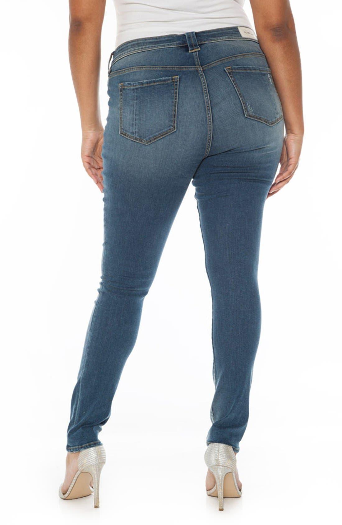 Alternate Image 2  - SLINK Jeans Ripped Stretch Skinny Jeans (Plus Size)