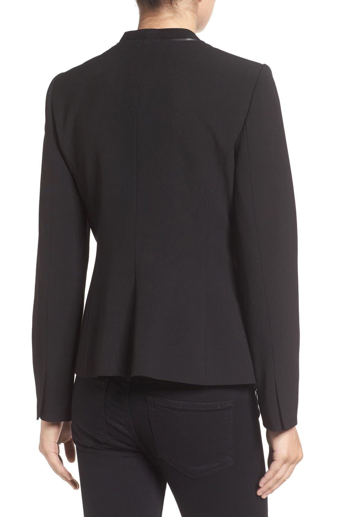 Alternate Image 2  - Ivanka Trump Faux Leather Trim Suit Jacket