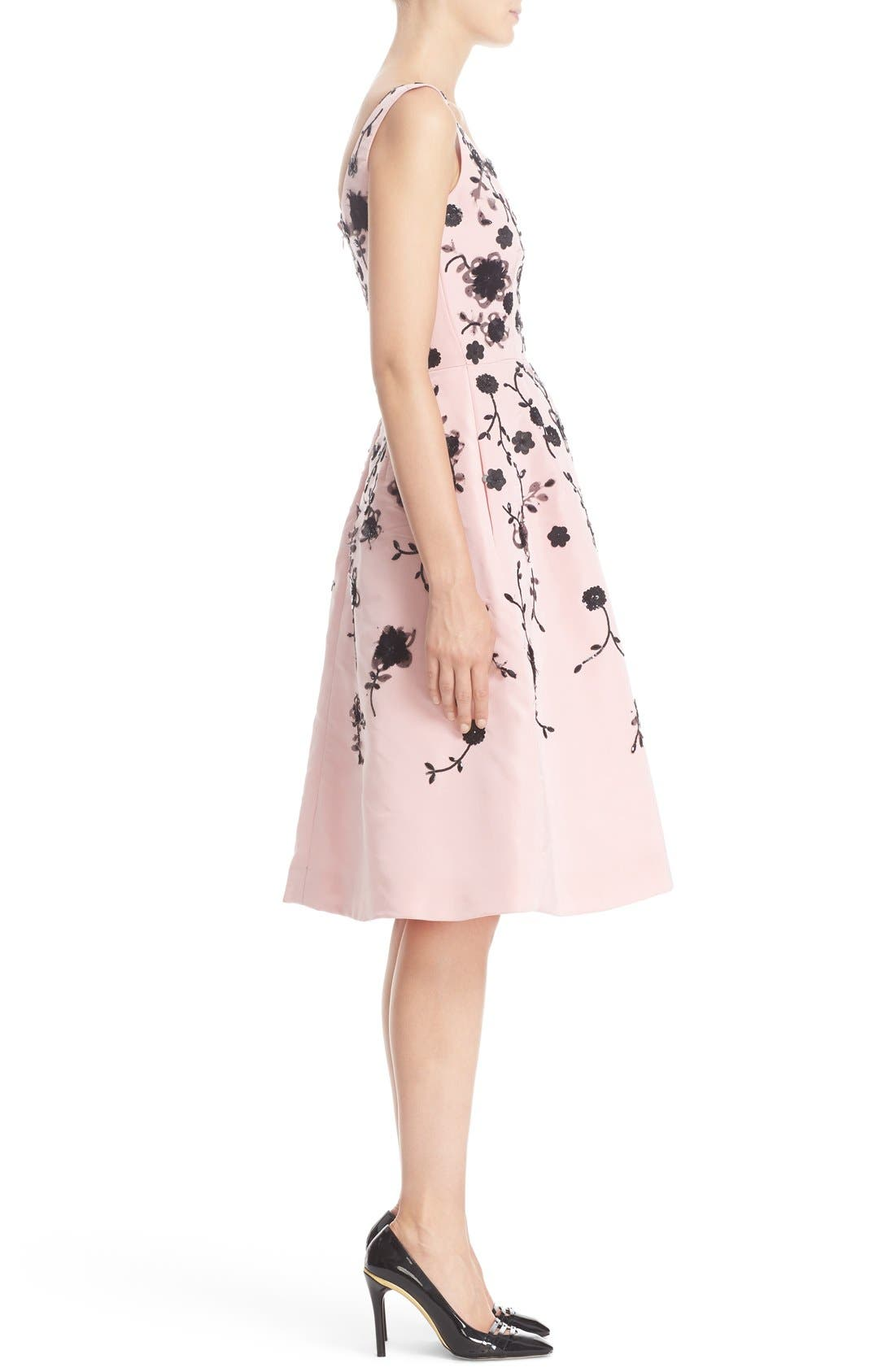 Alternate Image 5  - Oscar de la Renta Floral Embroidered Silk Cocktail Dress