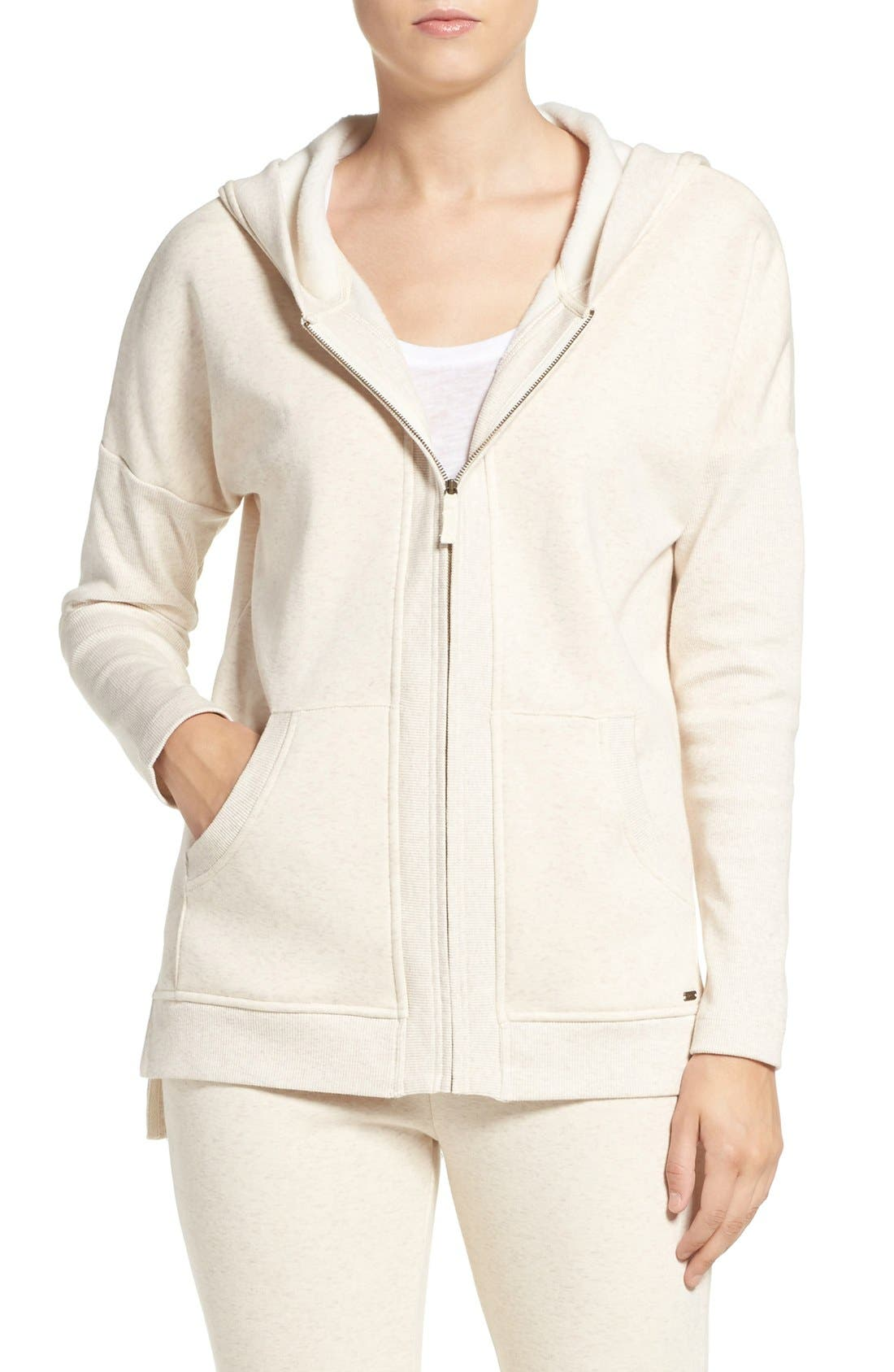 Alternate Image 1 Selected - UGG® 'Mavis' Stretch Cotton Zip-Up Hoodie