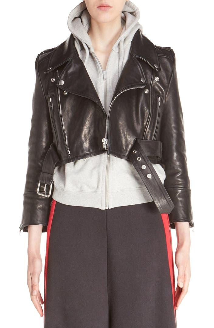 Vetements Crop Leather Biker Jacket   Nordstrom